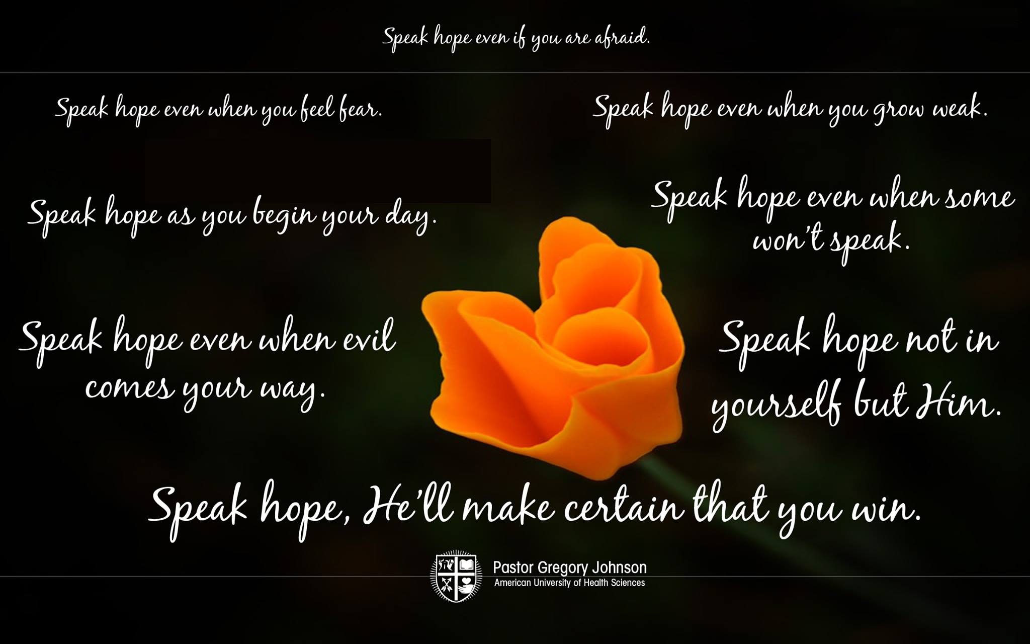 Speak hope ever when you feel fear…