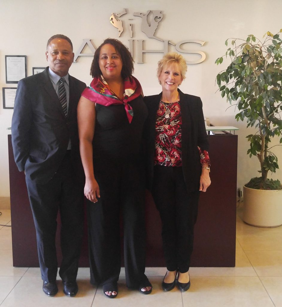 (From left to right) Pastor Gregory Johnson, the Co-founder of AUHS, Tiffany V. Bradshaw, the California Director for the First Ladies Health Initiative, and Dr. Caroll Ryan, President of AUHS.